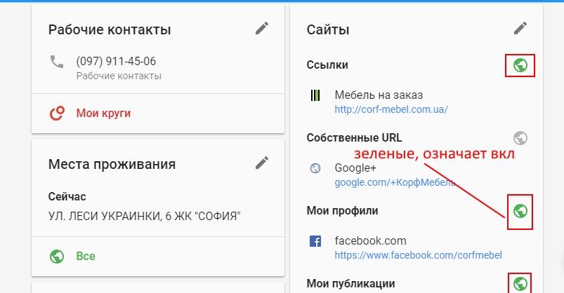 Данные о компании в Google+